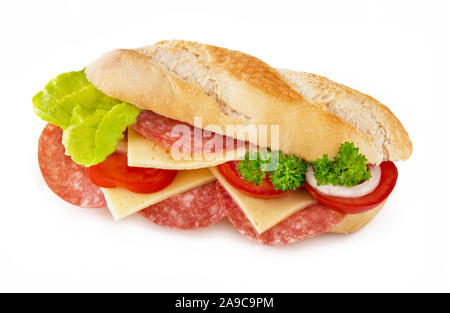 Baguette with salami and cheese - Stock Photo