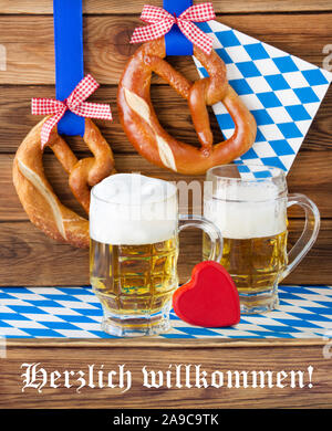 German Hearty Welcome and beer with decoration - Stock Photo