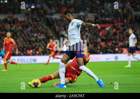 London, UK. 14th Nov, 2019. Marcus Rashford of England wins the tackle during the UEFA European Championship Group A Qualifying match between England and Montenegro at Wembley Stadium, London on Thursday 14th November 2019. (Credit: Leila Coker | MI News) Photograph may only be used for newspaper and/or magazine editorial purposes, license required for commercial use Credit: MI News & Sport /Alamy Live News - Stock Photo