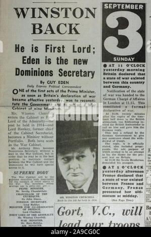 'Winston Back' headline in The Daily Express (replica), 4th September 1939, the day after World War II was declared.