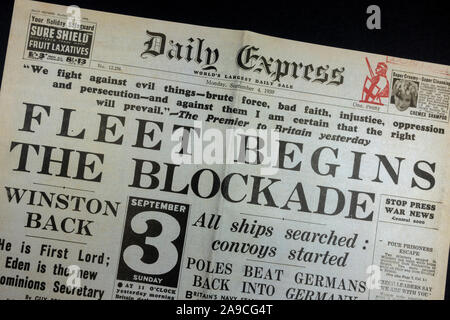 Front page headline, 'Fleet Begins The Blockade' in The Daily Express (replica), 4th September 1939, the day after World War II was declared.