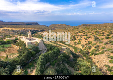 Church of Toplou Monastery in the northeastern part of Crete, Greece near the famous palm beach of Vai. - Stock Photo