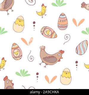 Handdrawn easter seamless pattern with egg, chiken and hen , vector illustration - Stock Photo