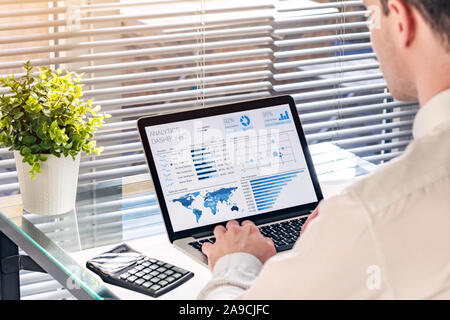 Business analytics dashboard with sales performance and operations data with professional executive analyzing KPI and metrics about revenue. BA or BI - Stock Photo