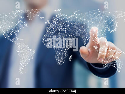 Global business and finance concept with businessman touching world map with connected dots in network architecture for telecommunication, internet of - Stock Photo