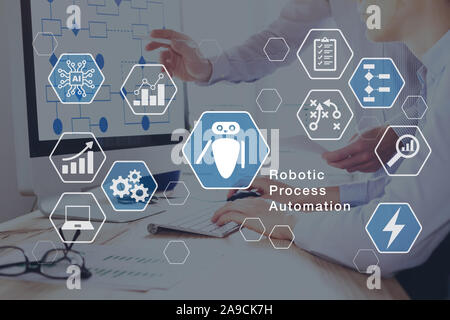 Robotic Process Automation (RPA) technology automate business tasks with direct integration of robots in company software user interface, concept with