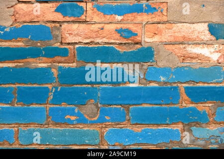Turquoise Colored Brick Wall in Uzbekistan Background, Texture Pattern - Stock Photo