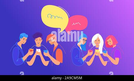 Social media chat or opinion poll concept flat vector illustration. Teenage boys and girls using mobile smartphone for chatting, texting, voting in so