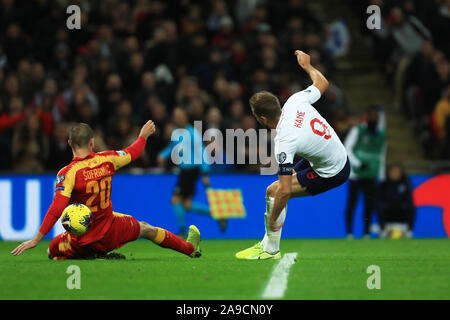 London, UK. 14th Nov, 2019. Harry Kane of England scores his sides 5th goal during the UEFA European Championship Group A Qualifying match between England and Montenegro at Wembley Stadium, London on Thursday 14th November 2019. (Credit: Leila Coker | MI News) Photograph may only be used for newspaper and/or magazine editorial purposes, license required for commercial use Credit: MI News & Sport /Alamy Live News - Stock Photo