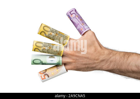 Close-up Of A Man's Hand Showing Rolled Up Euro Banknotes Over His Fingers - Stock Photo