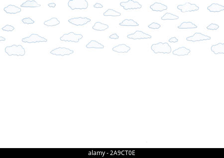 illustration of white clouds on a white background - Stock Photo