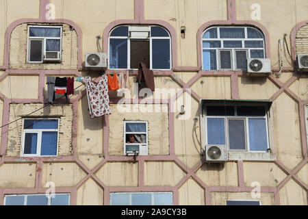 Flats built in the Soviet era at Mary in Turkmenistan - Stock Photo