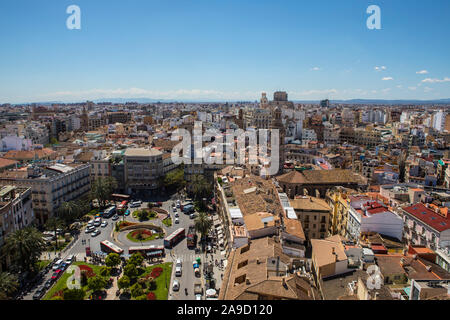A stunning view from the Torre del Micalet or El Miguelete - the historic bell tower of Valencia Cathedral in Spain. Placa de la Reina, or Queens Squa - Stock Photo