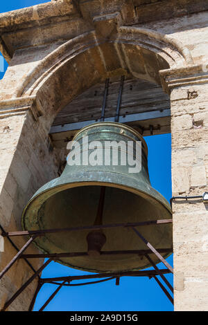 The bell of the historic Torre del Micalet, or El Miguelete - the bell tower of Valencia Cathedral in Spain. - Stock Photo