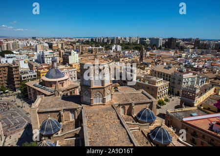 A stunning view from the Torre del Micalet or El Miguelete - the historic bell tower of Valencia Cathedral in Spain. - Stock Photo