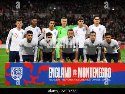 London, UK. 14th Nov, 2019. LONDON, ENGLAND. NOVEMBER 14: England Team during UEFA Euro 2020 Qualifier between England and Montenegro at Wembley stadium in London, England on November 14, 2019 Credit: Action Foto Sport/Alamy Live News - Stock Photo