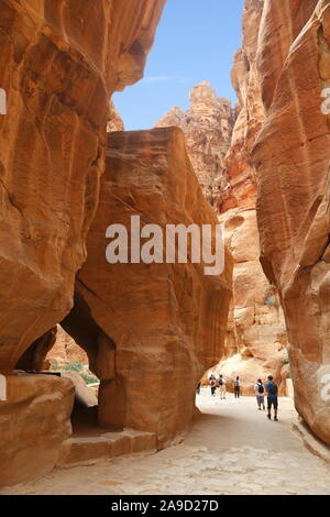 Paved Road, Siq, Petra, Wadi Musa, Ma'an Governorate, Jordan, Middle East - Stock Photo