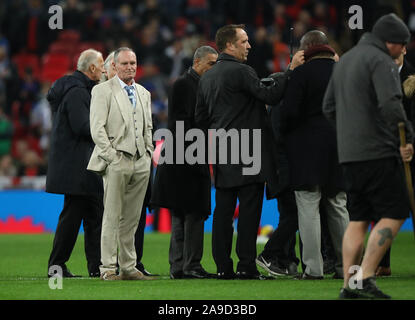 London, UK. 14th Nov, 2019. Paul Gascoigne stands alone with his thoughts. Today's game between England and Montenegro is England's 1000th senior men's international match and it is England v Montenegro EUFA EURO Qualifier at Wembley Stadium, London, on November 14, 2019. Credit: Paul Marriott/Alamy Live News - Stock Photo