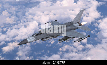 Fighter jet plane in flight, military aircraft, army airplane flying in cloudy sky, 3D rendering - Stock Photo