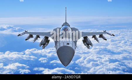 Fighter jet plane in flight, military aircraft, army airplane flying in sky with clouds, front top view, 3D rendering - Stock Photo