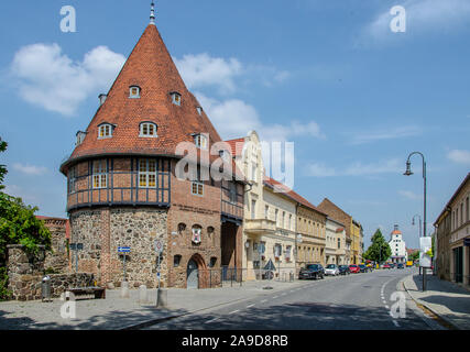 """The idyllic town of Treuenbrietzen, with its medieval town Centre, is situated in the northern edge of the glacial land ridge called """"Niederer Fläming - Stock Photo"""