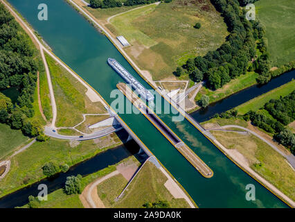 Double trough bridge at the river Lippe, Datteln, Ruhr area, North Rhine-Westphalia, Germany - Stock Photo