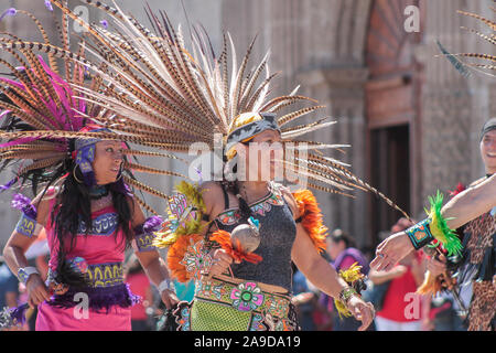 Traditional dance group performing in front of Zapopan Basilica - Stock Photo