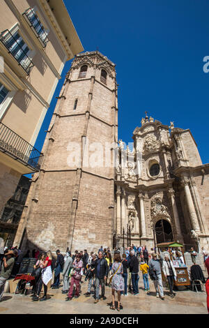 Valencia, Spain - April 11th 2019: The facade of Valencia Cathedral, also known as the Metropolitan Cathedral–Basilica of the Assumption of Our Lady o - Stock Photo