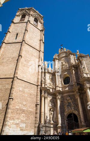 Valencia, Spain - April 11th 2019: Valencia Cathedral, also known as the Metropolitan Cathedral Basilica of the Assumption of Our Lady of Valencia, an - Stock Photo