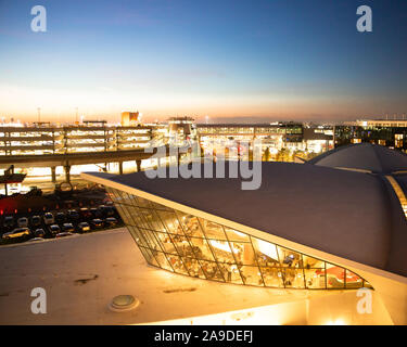 NEW YORK CITY - SEPTEMBER 20, 2019:  View of historic TWA  Hotel and surrounding area seen from Kennedy Airport, Queens New York seen at night - Stock Photo