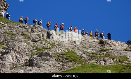 Climber on the Hindelang via ferrata at Nebelhorn, Oberstdorf, Oberallgäu, Bavaria, Germany