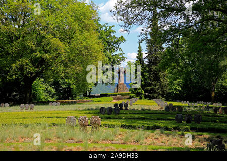Military Cemetery at the Klause on the Kasteler Plateau in Kastel-Staadt, Saar Valley, Rhineland-Palatinate, Germany - Stock Photo