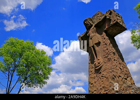 Cross on the military cemetery at the Klause on the Kasteler Plateau, Kastel-Staadt, Saar Valley, Rhineland-Palatinate, Germany - Stock Photo