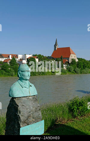 View from Oberndorf in Austria to the Collegiate Church of Our Lady in Laufen at the Salzach, Berchtesgadener Land, Upper Bavaria, Bavaria, Germany - Stock Photo