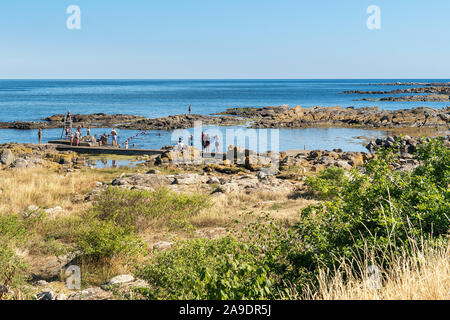Bornholm, coastal path between Nexø and Svaneke, bathing bay - Stock Photo
