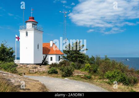 Bornholm, Hammaren peninsula, lighthouse Hammerodde - Stock Photo