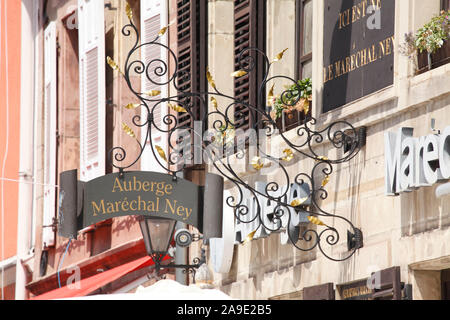 Birthplace Michel Ney, hanging sign, Saarlouis, Saarland, Germany, Europe - Stock Photo