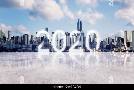 New Year 2020 in the city. Panoramic Bangkok city with concrete floor - Stock Photo