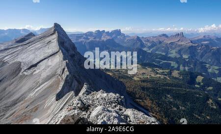 Summit of the ten seen from the Neuner, Fanes, South Tirol, view over Gader valley on Geislerspitzen and Peitlerkofel, Puez-Geisler - Stock Photo