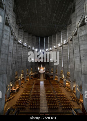 Overview of the interior of the Church Notre-Dame de Royan. At the bottom of the main entrance and large organs. Royan, France - Stock Photo