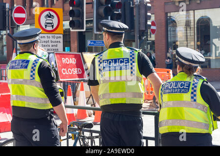 Community Support Police Officers in city centre, Leeds, West Yorkshire, England, United Kingdom