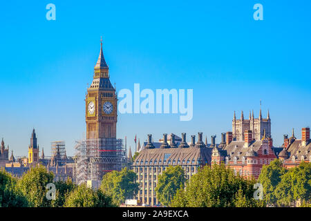 Big Ben in London under construction for maintenance - Stock Photo
