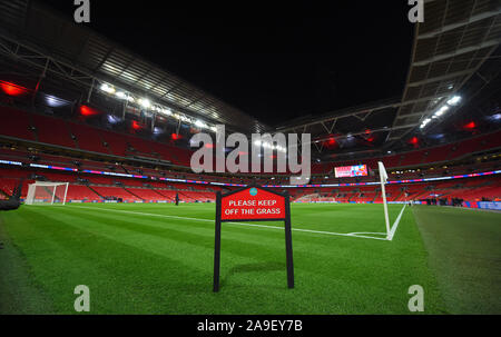 London, UK. 14th November, 2019. A General View Of Wembley Stadium, England V Montenegro, 2019 Credit: Allstar Picture Library/Alamy Live News - Stock Photo