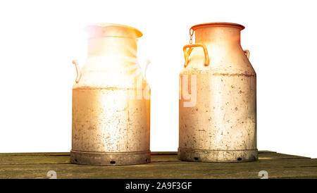 Milk churns in the back light - Stock Photo