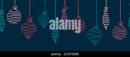 Fun hand drawn christmas baubles horizontal seamless - hanging christmas decoration - great for banners, wallpapers, wrapping, background, vector desi - Stock Photo