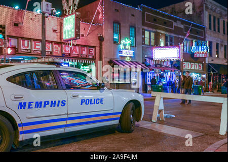 Beale Street in Memphis by night. This street is famous for its blues clubs. - Stock Photo