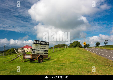 Queensland, Australia - February 20, 2016: Beechmont Farmers Market advertisement near the road - Stock Photo