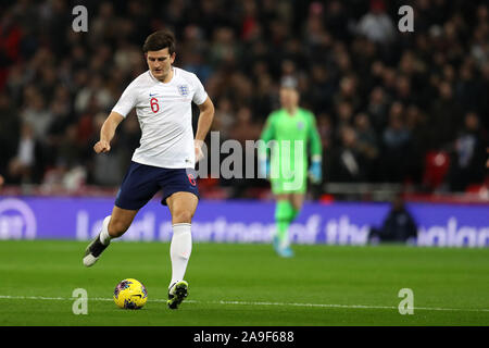 London, UK. 14th Nov, 2019. Harry Maguire of England in action.UEFA Euro 2020 qualifier, group A match, England v Montenegro at Wembley Stadium in London on Thursday 14th November 2019. EDITORIAL USE ONLY. this image may only be used for Editorial purposes. Editorial use only, license required for commercial use. No use in betting, games or a single club/league/player publications pic by Andrew Orchard/Andrew Orchard sports photography/Alamy Live news Credit: Andrew Orchard sports photography/Alamy Live News - Stock Photo