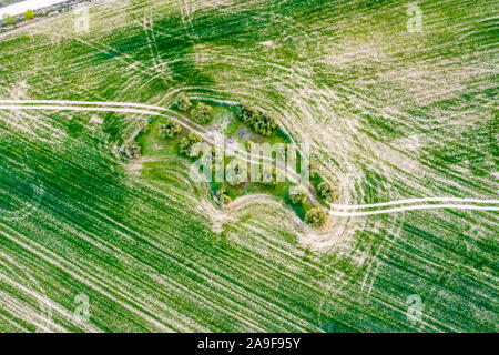 Agricultural aerial landscape. - Stock Photo