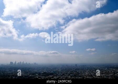 View from Griffith Park Observatory to Los Angeles, California, USA - Stock Photo